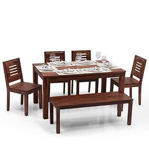 Arabia   Capra 6 Seater Dining Table Set (With Bench) (Teak Finish)