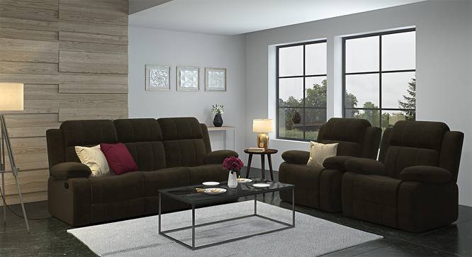Robert Three Seater Recliner Sofa (Coffee Brown Fabric) by Urban Ladder