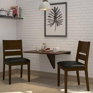 Ivy - Cabalo (Leatherette)  2 Seater Wall Mounted Dining Table Set (Black, Dark Walnut Finish)
