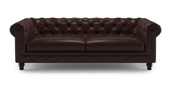 Winchester Half Leather Sofa ( Chocolate Italian Leather) (Chocolate,  1 Seater Custom