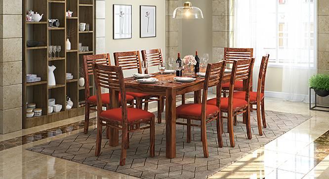 Zella Dining Chairs - Set of 2 (Teak Finish, Burnt Orange) by Urban Ladder