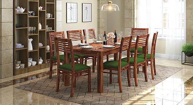 Zella Dining Chairs - Set of 2 (Teak Finish, Avocado Green) by Urban Ladder