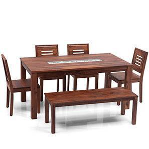 Brighton Large - Capra 6 Seater Dining Table Set (With Bench) (Teak Finish)