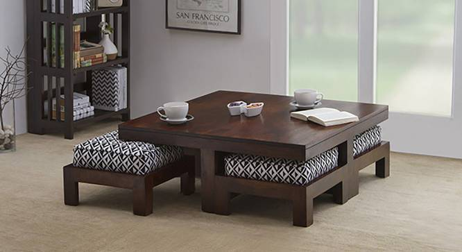 ... Kivaha 4 Seater Coffee Table Set (Ebony Finish, Black U0026 White) By ...