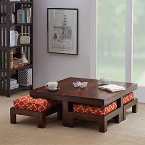 Kivaha Coffee Table Set (Walnut Finish, Morocco Lattice Rust, Four Seater)