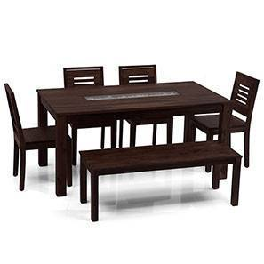 Brighton Large - Capra 6 Seater Dining Table Set (With Bench) (Mahogany Finish)
