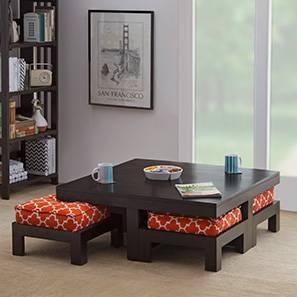 Kivaha 4-Seater Coffee Table Set (Ebony Finish, Morocco Lattice Rust)