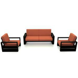 Parsons Wooden Sofa – 3-1-1 Set (Mahogany Finish, Amber) by Urban Ladder