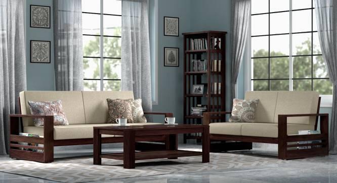 Parsons wooden Sofa 3 Seater (Mahogany Finish, Macadamia Brown) by Urban Ladder