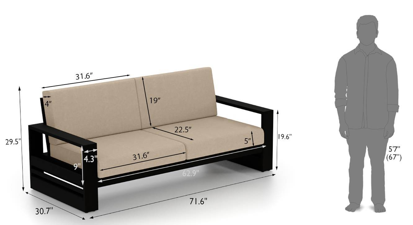 Parsons wooden sofa 3 seater md 10