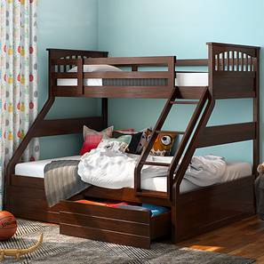 Barnley Single Over Queen Storage Bunkbed (Queen Bed Size, Dark Walnut Finish) by Urban Ladder