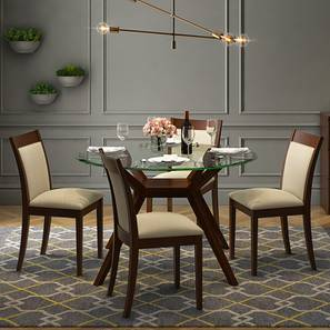 Wesley - Dalla 4 Seater Round Glass Top Dining Table Set (Dark Walnut Finish, Latte)