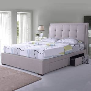 Thorpe Upholstered Storage Bed (King Bed Size, Beige)