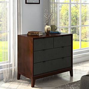Martino Upholstered Chest Of Drawers (Dark Walnut Finish, Charcoal Grey)
