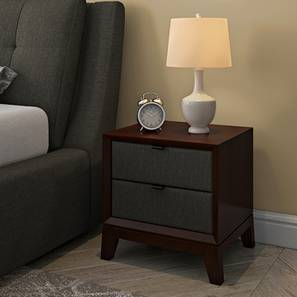 Superbe Martino Upholstered Bedside Table (Dark Walnut Finish, Charcoal Grey) By  Urban Ladder