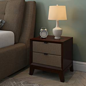 Martino Upholstered Bedside Table (Dark Walnut Finish, Mist Brown) by Urban Ladder