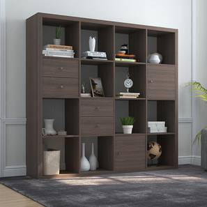 Boeberg Bookshelf (Dark Walnut Finish, 4 x 4 Configuration, 2 Cabinet, 2 Drawers Inserts)
