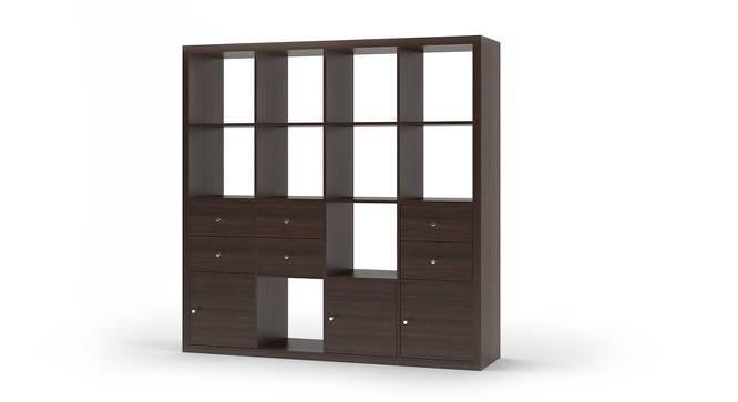 Boeberg Bookshelf (Dark Walnut Finish, 4 x 4 Configuration, 3 Cabinet, 3 Drawers Inserts) by Urban Ladder
