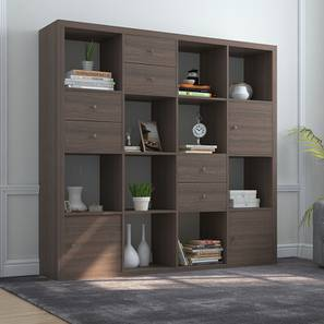 Boeberg Bookshelf (Dark Walnut Finish, 4 x 4 Configuration, 3 Cabinet, 3 Drawers Inserts)