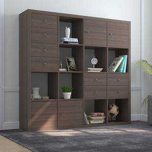 Boeberg Bookshelf (Dark Walnut Finish, 4 x 4 Configuration, 4 Cabinet, 4 Drawers Inserts)