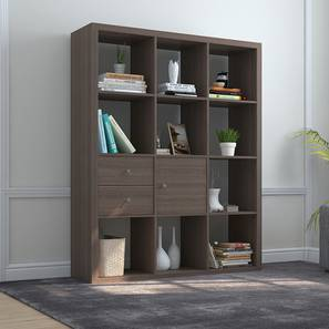 Boeberg Bookshelf (Dark Walnut Finish, 4 x 3 Configuration, 1 Cabinet, 1 Drawers Inserts)
