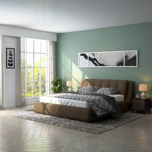 Stanhope Hydraulic Upholstered Storage Essential Bedroom Set (King Bed Size, Mist Brown)