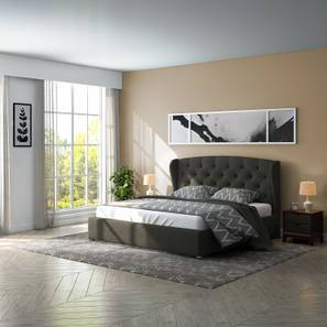Holmebrook Hydraulic Upholstered Storage Essential Bedroom Set (Queen Bed Size, Charcoal Grey)