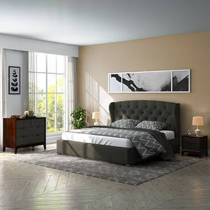 Holmebrook Hydraulic Upholstered Storage Compact Bedroom Set (Queen Bed Size, Charcoal Grey)