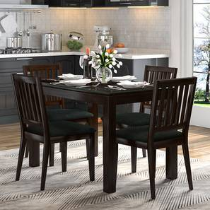Diner 4 Seater Glass Top Dining Table (Dark Walnut Finish)