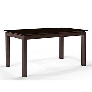 Diner 6 Seater Glass Top Dining Table (Dark Walnut Finish)