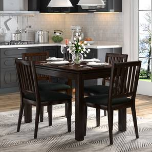 Diner 4 Seater Dining Table Set (With Upholstered Chairs) (Dark Walnut Finish)