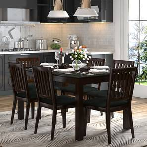Diner 6 Seater Glass Top Dining Table Set (Dark Walnut Finish)