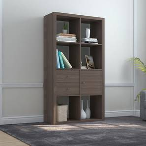 Boeberg Bookshelf (Dark Walnut Finish, 4 x 2 Configuration, 1 Cabinet, 1 Drawers Inserts) by Urban Ladder