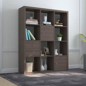 Boeberg Bookshelf (Dark Walnut Finish, 4 x 3 Configuration, 2 Cabinet, 1 Drawers Inserts)