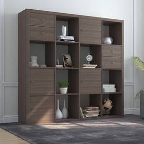 Boeberg Bookshelf (Dark Walnut Finish, 4 x 4 Configuration, 4 Cabinet, 2 Drawers Inserts)