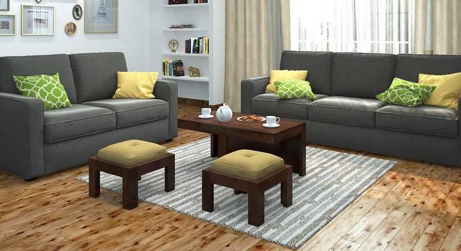 Kivaha 2-Seater Coffee Table Set (Walnut Finish, Beige) by Urban Ladder
