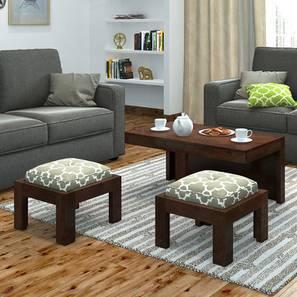Kivaha 2-Seater Coffee Table Set (Walnut Finish, Morocco Lattice Beige)