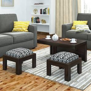 Kivaha 2-Seater Coffee Table Set (Ebony Finish, Black and White)