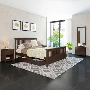 Athens Evelyn Storage Compact Bedroom Set (Queen Bed Size, Dark Walnut Finish) by Urban Ladder