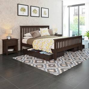 Athens - Evelyn Storage Essential Bedroom Set (Queen Bed Size, Dark Walnut Finish)