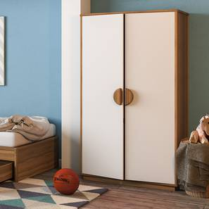Kevin 2 Door Wardrobe (White, Smoked Oak Finish)