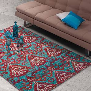 """Tapetos Hand Knotted Carpet (60'' x 93"""" Carpet Size, Turquoise)"""
