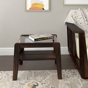 Serra Glass Top Side Table (Mahogany Finish)