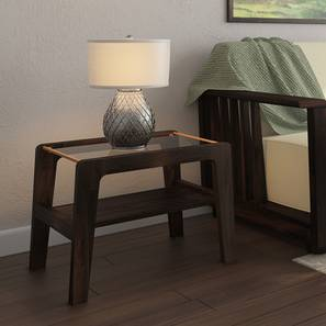 Serra Glass Top Side Table (Mahogany Finish) by Urban Ladder