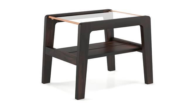 Serra Glass Top Side Table (Mahogany Finish) by Urban Ladder