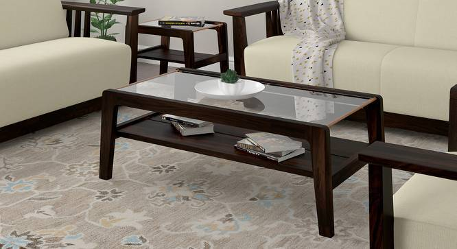 Serra Glass Top Coffee Table (Mahogany Finish) by Urban Ladder
