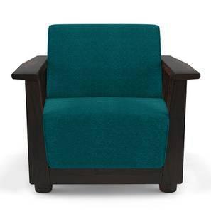 Serra Wooden Sofa 1 Seater (Mahogany Finish, Malibu)