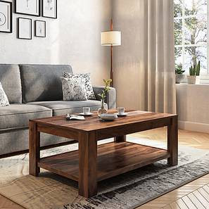 Striado Coffee Table (Teak Finish, With Shelves Configuration)