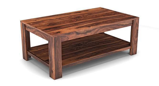 Striado Coffee Table (Teak Finish, With Shelves Configuration) by Urban Ladder
