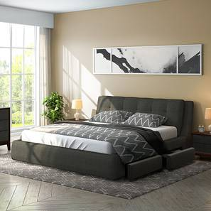Stanhope Upholstered Storage Bed (Queen Bed Size, Charcoal Grey)